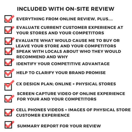 on site review your customer s shoes what's included